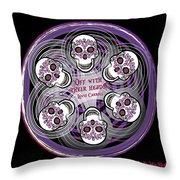 Spinning Celtic Skulls In Purple Throw Pillow