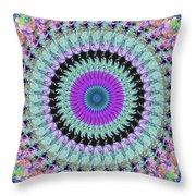 Spinning Colors Mandala Throw Pillow