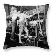 Spinning Frame Circa 1909 Throw Pillow by Aged Pixel