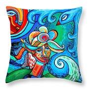 Spiral Bird Lady Throw Pillow