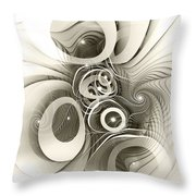 Spiral Mania 2 - Black And White Throw Pillow