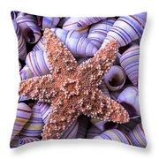 Spiral Shells And Starfish Throw Pillow
