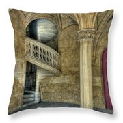 Spiral Stairway And Red Door Throw Pillow