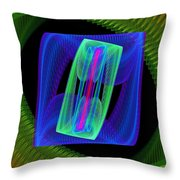 Spiral Vortex Green And Blue Fractal Flame Throw Pillow