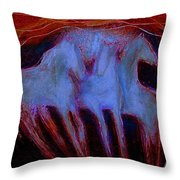Spirit Horses Throw Pillow by Johanna Elik