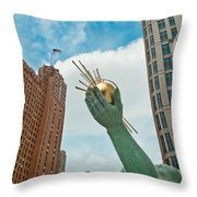 Spirit Of Detroit's Left Hand Throw Pillow