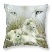 Spirit Of The White Lions Throw Pillow