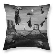 Spirits Of The Flying Umbrellas Bw Throw Pillow