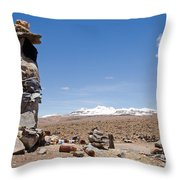 Spiritual Cairn In The Peruvian Altiplano Throw Pillow