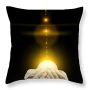 Spiritual Healing Light In Cupped Hands On Black Throw Pillow