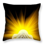 Spiritual Light In Cupped Hands Throw Pillow