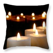 Spiritual Reflection Candles Throw Pillow