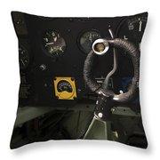 Spitfire Cockpit Throw Pillow by Adam Romanowicz
