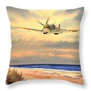 Spitfire Mk9 - Over South Coast England Throw Pillow