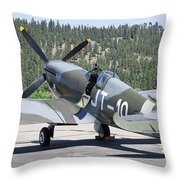 Spitfire On Takeoff Standby Throw Pillow