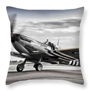 Spitfire Warming Up For D Day Throw Pillow