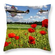 Spitfires And Poppy Field Throw Pillow