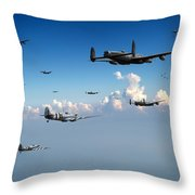 Spitfires Escorting Lancasters Throw Pillow