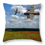 Spitfires Lancaster And Poppy Field Throw Pillow
