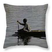 Splashing In The Water Caused Due To Kashmiri Man Rowing A Small Boat Throw Pillow