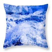 Splashing Water In Rapid River Throw Pillow