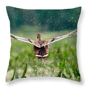 Splashy Take-off Throw Pillow by Shell Ette