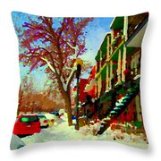 Splendor And Colors Of Quebec Winters Verdun Montreal Urban Street Scene Carole Spandau Throw Pillow