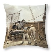 Splicing The Trans-atlantic Telegraph Cable After The First Accident On Board The Great Eastern Throw Pillow