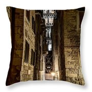 Split Cathedral From The Temple Of Jupiter At Night Croatia Throw Pillow
