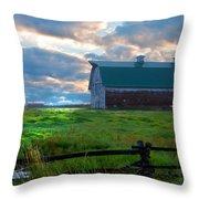 Split Rail Fence Barn Throw Pillow