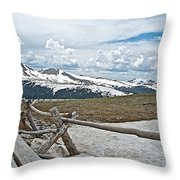 Split Rail Fence Near Alpine Visitor's Center In Rocky Mountain Np-co Throw Pillow