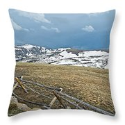 Split Rail Fence On East Side Of Trail Ridge Road In Rocky Mountain National Park-colorado Throw Pillow