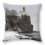 Split Rock Lighthouse Winter 19 Throw Pillow
