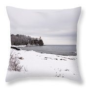 Split Rock Lighthouse Winter 7 Throw Pillow