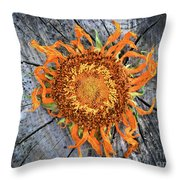 Split Sunflower Throw Pillow