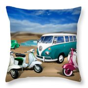 Splitty Vw Beetle And Scooters Throw Pillow