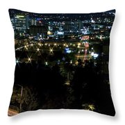 Spokane Washington Skyline At Night Throw Pillow