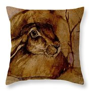 Spooked Hare Throw Pillow