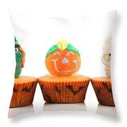 Spooks Cup Cakes On White Background Throw Pillow