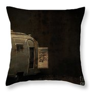 Spooky Airstream Campsite Throw Pillow