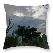 Spooky Boot Hill Cemetery Throw Pillow