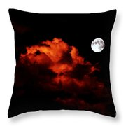 Spooky Clouds With Glowing Moon Throw Pillow