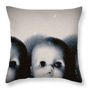 Spooky Doll Heads Throw Pillow