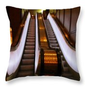 Spooky Escalator At The Brown Palace In Denver Throw Pillow