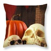 Spooky Halloween Skulls Throw Pillow by Edward Fielding