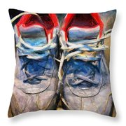 Sport Shoes Drawing Throw Pillow