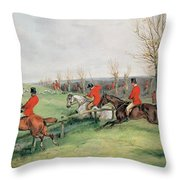 Sporting Scene, 19th Century Throw Pillow