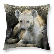 Spotted Hyena Mother And Pups Throw Pillow