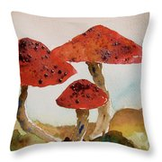 Spotted Mushrooms Throw Pillow