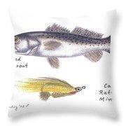 Spotted Seatrout And Rattlin' Minnow Fly Throw Pillow
